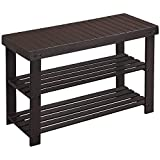 SONGMICS Bamboo Shoe Bench, Shoe Rack, Stable Shoe Organizer for Entryway, Living Room, Bedroom, Storage Shelf, Loads up to 264 lb, 27.6 x 11.2 x 17.7 Inches