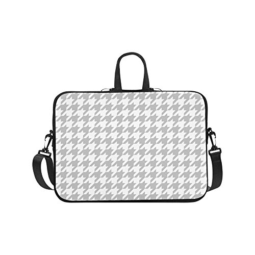 InterestPrint Classical Black and White Houndstooth Checkered Pattern 17 17.3 Inch Waterproof Neoprene Laptop Sleeve Notebook Computer Case Shoulder Bag with Handle & Strap for MacBook Dell HP