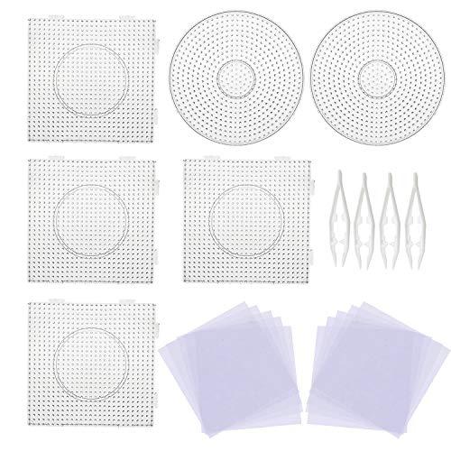 Allazone 5mm 6 Pz Pegboards Plantillas Grandes con 4 Pz Cuentas Blancas, 10 Pz Papel de Planchado, Placas Cuadrado Transparente para Cuentas Niños Artesanía Perlas