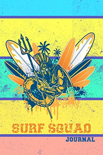 SURF SQUAD JOURNAL DOT GRID STYLE NOTEBOOK: 6x9 inch daily bullet notes on dot grid design creamy colored pages with beautifully colored surfing boards and poseidon cover nice present idea