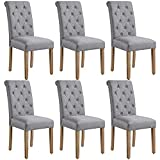 Yaheetech 6pcs Dining Chairs Button Tufted Parsons Diner Chairs Upholstered Fabric Dining Room Chairs with Solid Wood Legs and Padded Seat for Kitchen Lounge Restaurant, Dark Gray