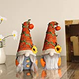 2 piezas de felpa de gnomo de otoño, Tomte de acción de gracias de otoño con sombrero de girasoles de calabaza, muñeca sueca Nisse Tomte Elf Dwarf decoración regalo del día de Acción de Gracias