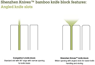 Shenzhen Knives In-Drawer Knife Block: 11 Slot Empty Wooden Knife Holder for Kitchen Drawers - Bamboo Wood Storage Block
