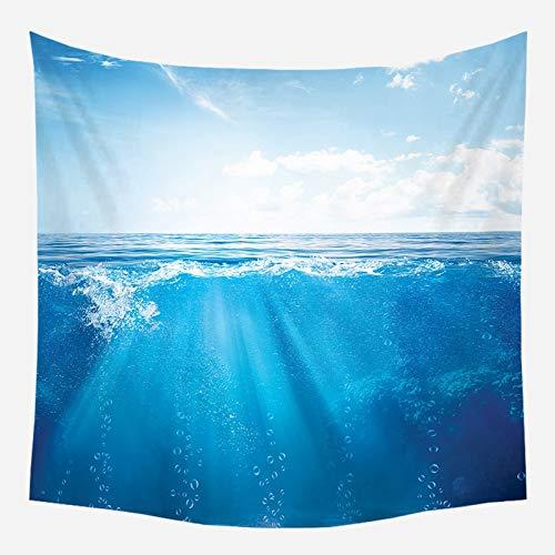 Sol mar tapiz océano playa colgante de pared paisaje de agua decoración de la playa paño de pared nube azul tela de fondo de espuma azul a7 73x95cm