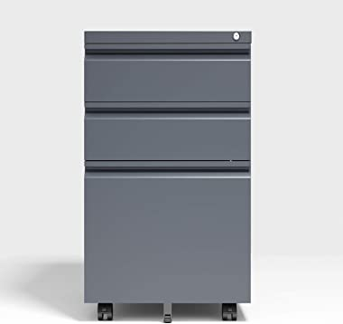 Mobile File Cabinet, Locking,3-Drawer Full Assembled Steel Structure Storage Locker, with 5 Casters, Black