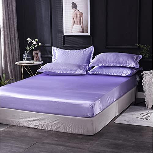HAIBA Sábana bajera ajustable de seda mate de verano, incluye funda de almohada antideslizante, funda de colchón, color lila, 160 x 20 cm (ancho x largo).