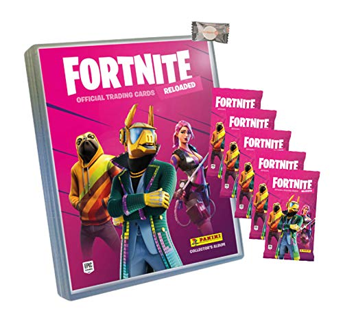 ★ Fortnite Trading Cards Reloaded Serie 2 (2020) Sammelkarten - 1 Sammelmappe + 5 Booster + stickermarkt24de Gum