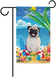 BAGEYOU Hello Summer My Love Dog Pug On The Beach Garden Flag Cute Puppy Children Toys Lemon Juice Watermelon Flip Flop Tropical Palm Decor Banner for Outside 12.5X18 Inch Print Double Sided
