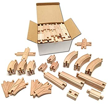 Tiny Conductors Wooden Train Set - 52-Piece Train Track Collection Compatible w/ Thomas The Train & Other Major Railroad Toy Brands Wooden Toys for Girls & Boys