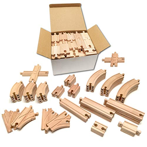 Tiny Conductors 52 Piece Wooden Train Track Set - 100% Real Wood,...