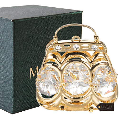 Matashi 24K Gold Plated Crystal Studded Purse Ornament for Christmas Tree Home Decor Tabletop Decorative Showpeice Gift for Christmas Valentine's Day Mother's Day Birthday Gift for Mom Wife Girlfriend