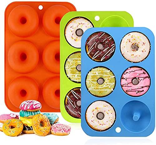 Paquete de 3 moldes de silicona para donuts – Molde antiadherente de silicona flexible de grado alimenticio para hornear herramientas para hacer tartas y dulces, galletas, panecillos, magdalenas