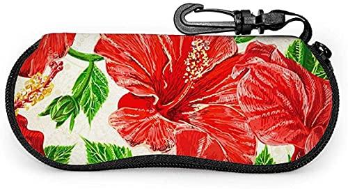 Estuche blando para anteojos con conejito y flor pintados en acuarela, rojo, hibisco, para mujeres y hombres