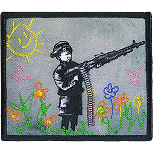 Banksy's Graffiti Crayon Shooter Patch - Graffiti Artist Banksy Embroidered Iron-On/Sew-On Patch - 3.18' x 3.72'