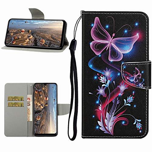 Miagon Hülle für Huawei Y6P,Handyhülle PU Leder Brieftasche Schutz Flip Case Wallet Cover Klapphüllen Tasche Etui mit Kartenfächern Stand,Lila Schmetterling