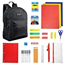 17 Inch Basic Black Backpack with 50 Piece School Supply Kit - Bundle Value Pack All Students