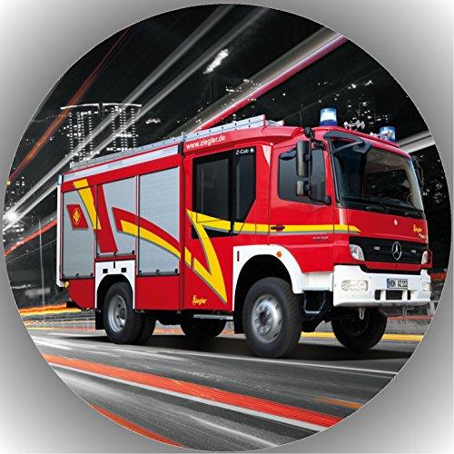 Fondant Tortenaufleger Tortenbild Geburtstag Feuerwehr AMA5