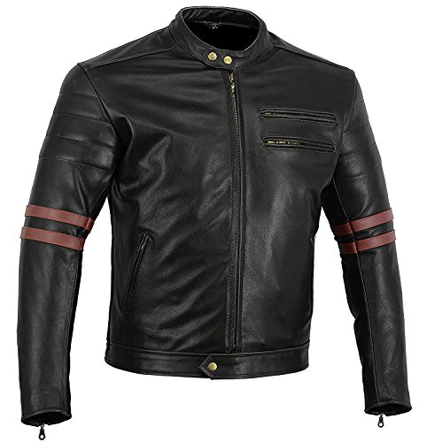 Bikers Gear UK GIACCA in PELLE da MOTO VINTAGE CUSTOM CAFE RACER TAGLIA L (EU 50)