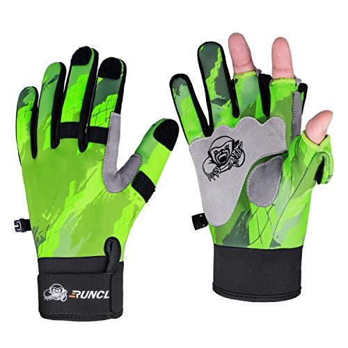 RUNCL Fishing Gloves Winter RAGUEL, Touchscreen Outdoor Fishing Gloves, Neoprene 3 Cut Finger Cycling Gloves, Convertible Windproof for Men Women Ice Fishing Photography Kayaking (Green S/M)