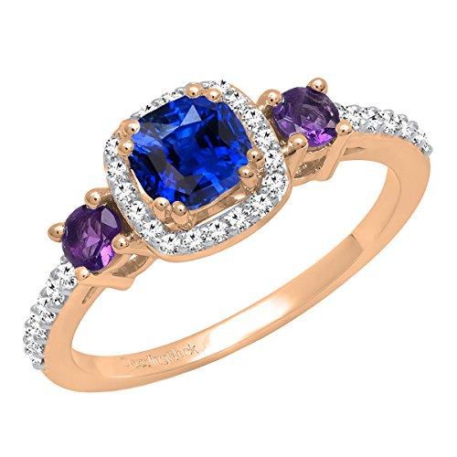 Dazzlingrock Collection - Anillo de compromiso para mujer, oro rosa de 18 K y 5 mm, con piedras preciosas y diamantes de imitación