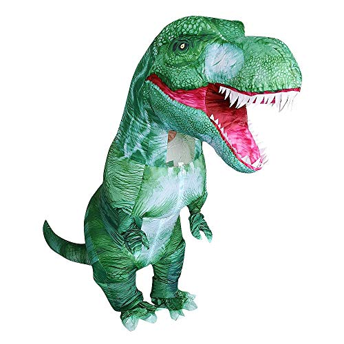 Zi Xi & Zi Qi T-Rex Inflatable Dinosaur Mascot Party Costume Fancy Dress Cosplay Outfit Adult (Green Tyrannosaurus)