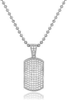 Men's .925 Silver Cubic Zirconia Dog Tag Pendant Necklace, 2MM Moon Cut 24
