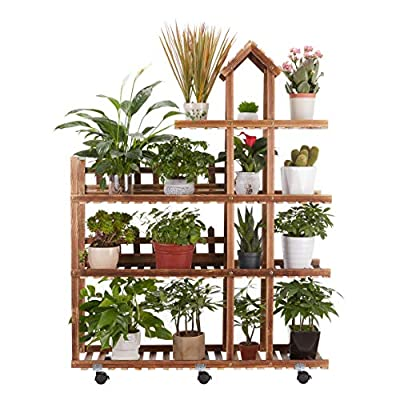 Pine Wood Plant Stand Indoor Outdoor, Wooden Pl...