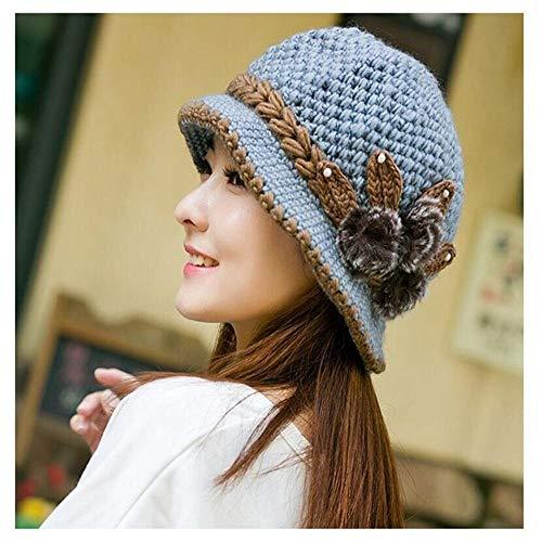 AOXQ Sombrero cálido de Invierno Gorras de Orejeras para Mujer Sombreros de Punto Bonitos para Mujer Sombreros en Topless de Moda de otoño e Invierno al por Mayor-Gris