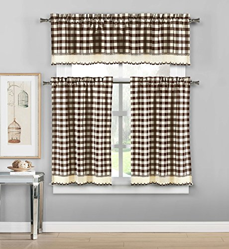 Duck River Textiles - Queenston Country Plaid Gingham Checkered Kitchen Tier & Valance Set   Small Window Curtain for Cafe, Bath, Laundry, Bedroom - (Brown), Chocolate