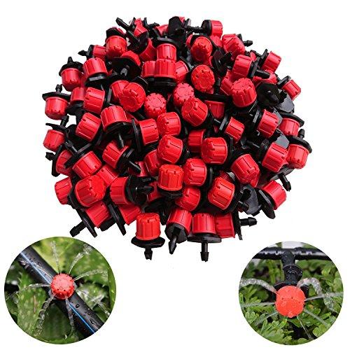 Kalolary 100 Pcs Micro Goteo Riego Rociadores, Plástico Ajustable Emisor gotero Sistema de riego Ajustable 1/4'' Pulgada con Micro Goteo Antiobstrucción Color Rojo