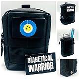 SEWAS Diabetic Care, Tasche für Blutzuckermessgerät & Diabetes Zubehör, mit 2 Klett Patsches, Diabetical Warrior, Schutzcase Gürteltasche Schwarz