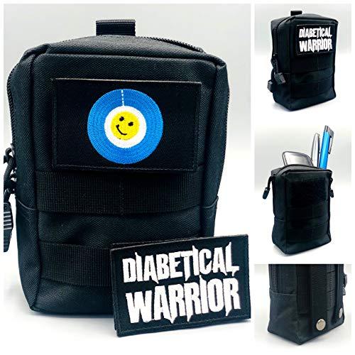 SEWAS Diabetic Care - Funda para medidor de azúcar en Sangre y Diabetes (Incluye 2 Parches de Velcro, Guerrero diabético), Color Negro