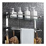 Pared Cesta de ducha Cuarto de baño estante de vidrio con toallero y ganchos de suspensión del sostenedor del estante montado en la pared de perforación 2 Niveles 24 pulgadas YueB ABG ( Size : 61cm )