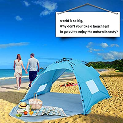 Beach Tent 3 or 4 Person Automatic Camping Tent with UV 50 Protection pop up Beach Shade Sun Shelter for Outdoor Activities Easy Set up