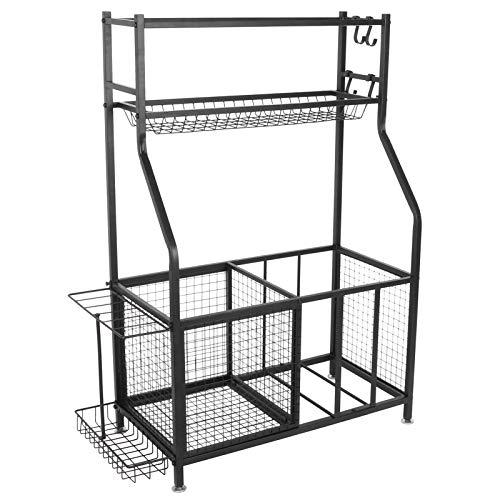 Soporte de almacenamiento para equipamiento deportivo de pie de metal duradero, para pelotas de deporte, multifuncional, aprox. 94 x 41,7 x 122,5 cm