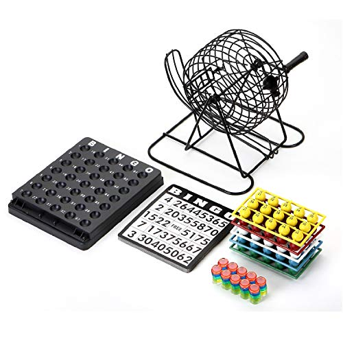 Win sports bingo game set,8 inch metal cage with master board,75 multicolored balls,150 bingo chips and 18 bingo cards, ideal for large group casino game set