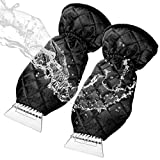 MATCC Ice Scraper Mitt 2 Pack Windshield Snow Scrapers with Waterproof Snow Remover Glove Lined of Thick Fleece Black