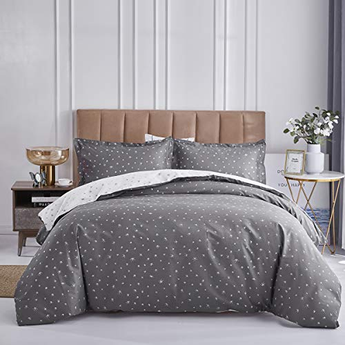 OAITE Duvet Cover Set, 100% Cotton Duvet Cover, Ultra Soft and Easy Care, Bedding Queen Size Set, 3-Piece Duvet Cover Set Includes 2 Pillow Shams