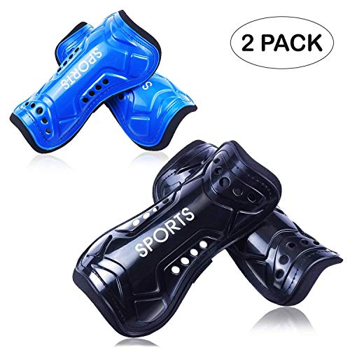 GeekSport Youth Soccer Shin Guards 2 Pack Toddler USA Soccer Shin Pads Child Calf Protective Gear for 3 5 4-6 7-9 10-12 Years Old Girls Boys Children Kids Teenagers Blue Black L 4