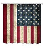 A.Monamour Duschvorhang Wasserdicht Antischimmel Waschbar Stoff Usa Flagge Im Grunge Stil Textil Polyester Badezimmer Bad Badewanne Vorhang mit Haken 180x200 cm