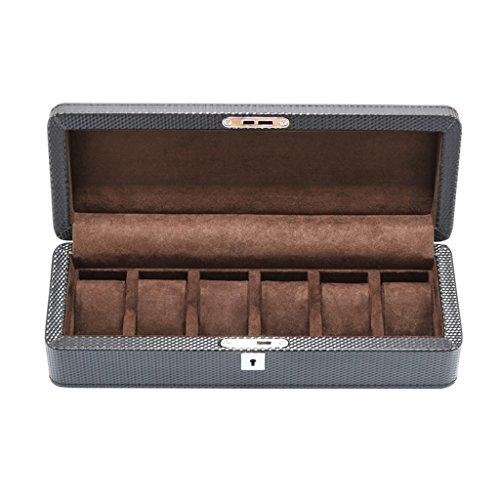 Regarder l'organisateur Boîte de montre Faux cuir 6 grilles avec Lock Coussins mous Poignet oreiller pour les hommes ou les femmes Collections de bracelets de bijoux Cadeaux de luxe d'affichage de cas