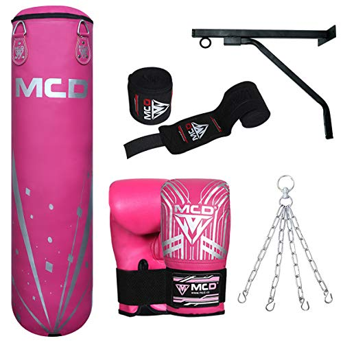 MCD SPORTS Saco de Boxeo y Guantes Sin Relleno, Guantes de Entrenamiento R5, Cadena, Cuerda de Saltar y Vendas de Mano para MMA, Kickboxing, Muay Thai Juego de Bolsas de Boxeo 4 Pies