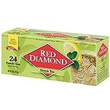 RED DIAMOND Green Tea Family Quart Size Tea Bags, Bulk Iced Green Tea Bags, 24 Count (Pack of 6) makes 144 Quarts