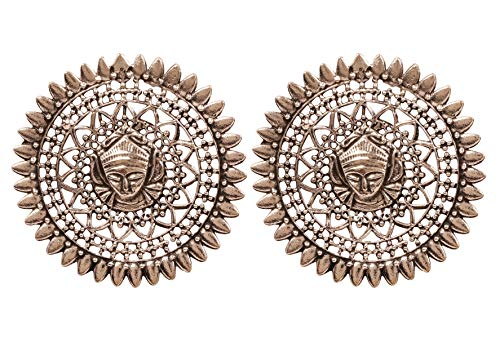 NEW! Touchstone'Indian Oxidized Jewelry' Beautifully Handcrafted Depicting Tribal Deity Figurative Round Shape Designer Jewelry Earrings In Oxidized Finish For Women.