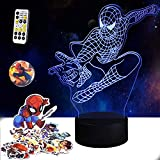 Superhéroe LED 3D luz nocturna, lámpara de ilusión de Spiderman, control táctil, sincronización creativa, juguetes de Spiderman regalos de cumpleaños para niños niñas niños edad 5 6 7 8 9 10 11 12 13