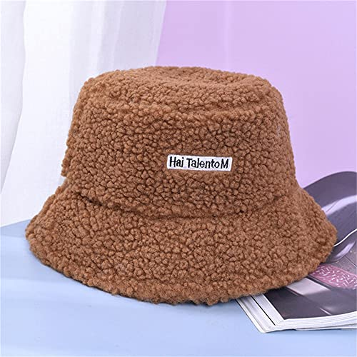 Sombrero de Cubo Unisex Graffiti Letter Mujeres Hombres Sombrero de Pescador de Pesca Otoño Invierno Gorra cálida para Exteriores-02 Brown-One Size
