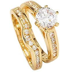 We Can Engrave On The Ring: name, date or text. £4 charge. Please contact us via Amazon as soon as you have placed your order to confirm engraving. 18kt Genuine Gold With World Class Simulated Diamonds. Gorgeous Engagement Set For Her! Ring and Match...