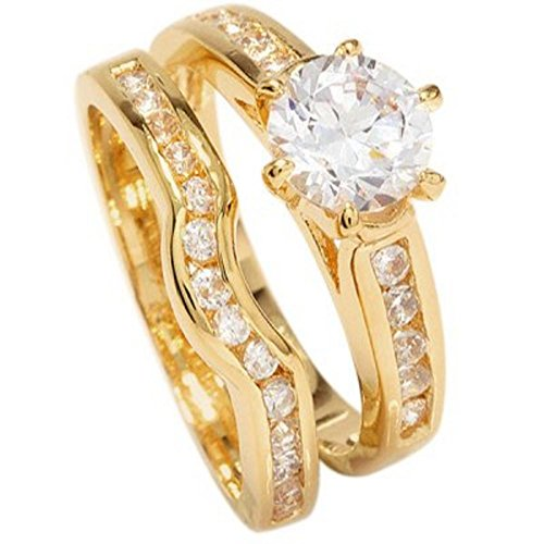 Free Engraving! Ah! Jewellery Ladies 18kt Genuine Gold Filled Simulated Diamonds Ring & Channel Eternity Band. Engagement Wedding Set, UK Guarantee: 3µ.