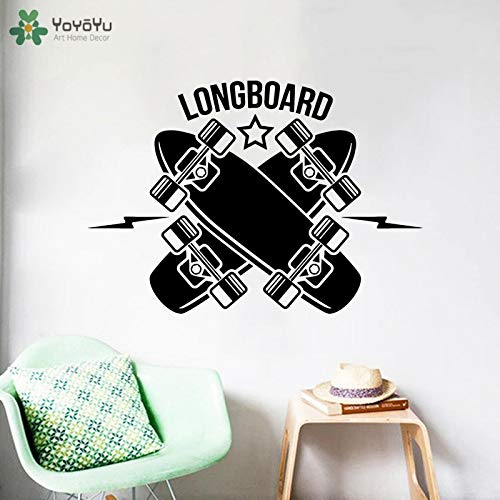 ganlanshu Wandtattoos Longboard Skateboard Vinyl Wandaufkleber Junge modernes Design Schlafzimmer Art Deco Dekoration Wandbild 59cmX42cm