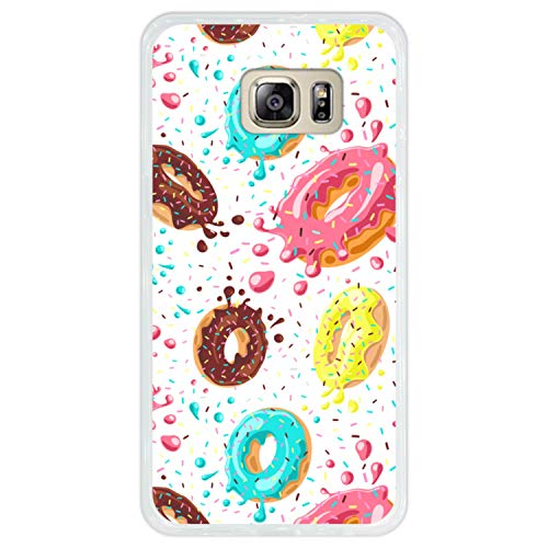 Hapdey Custodia per [ Samsung Galaxy S6 Edge Plus ] Disegni [ Modello di Ciambelle con Cioccolato e codette Colorate ] Cover Guscio in Silicone Flessibile Transparente TPU
